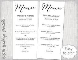 menu templates for weddings wedding menu template modern calligraphy script black menu diy