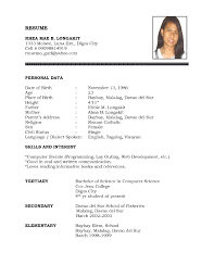 good resume exles 2017 philippines independence high student resume format with no work experience filipino