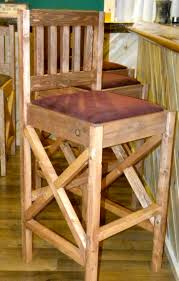 Unfinished Wood Bar Stool Rustic Unfinished Wood Bar Stool With Mission Back And Upholstered
