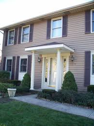 White Awning Exterior Engaging Front Porch Decoration Using Small Black And