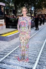 emily blunt glows in heavily embellished floral gown at the