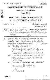 differential equations elective 2012 june science mathematics