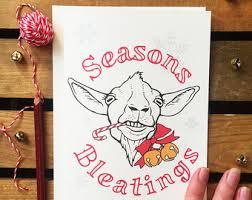 funny christmas card goat greeting card cute notecard