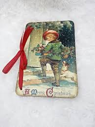 wooden christmas cards greeting card vintage style postcard