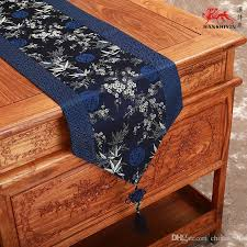 Christmas Table Runner Decoration by Chinese Style Patchwork Luxury Navy Blue Patterns Table Runners