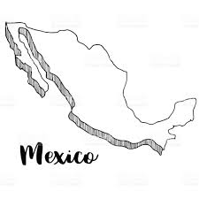 Mexico Map by Hand Drawn Of Mexico Map Vector Illustration Stock Vector Art
