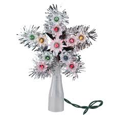 6 lighted silver tinsel star christmas tree topper multi lights