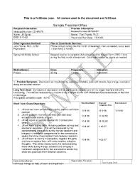 Counseling Treatment Plan Goals Treatment Plan Templates For Mental Health Fill