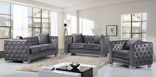 Grey Velvet Sofas Meridian Furniture Reese 3p Modern Tuft Grey Velvet Sofa Living