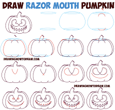 halloween cartoon drawings huge guide to drawing cartoon pumpkin faces jack o u0027lantern faces