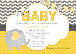 baby shower invitation yellow yellow gray baby elephant polka dots