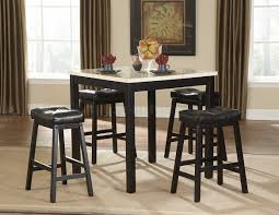 black 5pc modern counter height dining set w faux marble top