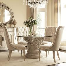 dining room furniture circle glass table with round cream