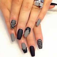 grey u0026 black matte square nails design nails pinterest