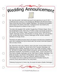 sle wedding announcements wedding newspaper announcement template wedding ideas 2018