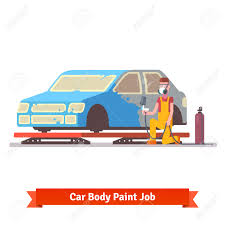car body paint job painting specialist spraying color on sealers