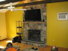 interior detail image mounting tv above fireplace design ideas