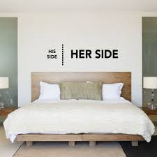 his side her side his hers bedroom wall sticker decal his hers bed bedroom wall sticker decal