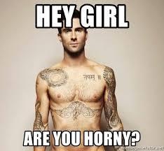 Horny Girl Meme - hey girl are you horny adam levine meme generator