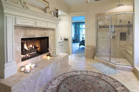 Shower Enclosure Bathroom Suites Luxury Bathroom Suite With Large Fireplace And Glass Shower