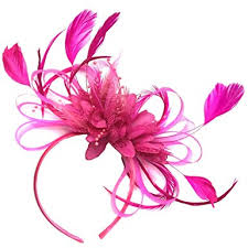 hair attached headbands uk fuchsia hot pink feather hair fascinator headband wedding and