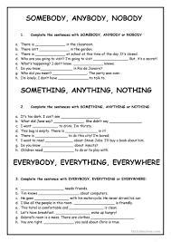 somebody anybody nobody something anything etc worksheet