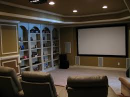 living home movie theater room interior a white fabric sofa set