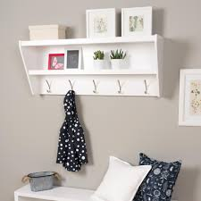 white entryway shelf with hooks over bench decofurnish