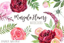 burgundy flowers watercolor burgundy flowers clipart fall wedding flowers