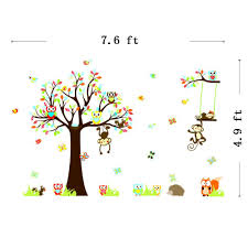 amazon com dagoucartoon forest animal owls tree swing nursery amazon com dagoucartoon forest animal owls tree swing nursery wall stickers wall murals removable art wall decals for kids girls room decoration baby
