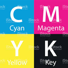 simple vector cmyk color sample with color name background with