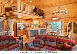 interior pictures of log homes interior modern log cabin stock photo 133703444