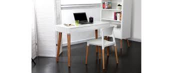 Bureau Design Scandinave Blanc Et Bois Totem Miliboo Bureau Blanc Et Bois