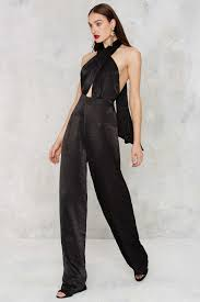 gal jumpsuit lyst gal heaven on earth pussybow jumpsuit in black