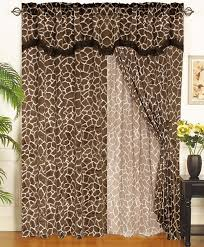 Leopard Curtains Giraffe Animal Kingdom Curtain Set W Valance Sheer Tassels
