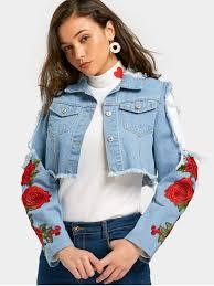 light blue cropped jean jacket flower patched cut out crop denim jacket light blue jackets coats