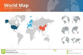 World Continents And Countries Map by World Map With Countries Borders And Earth Globes Showing All