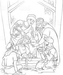 nativity scene jesus mary joseph and the three kings outlined