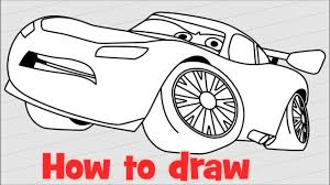 how to draw lightning mcqueen from cars 3 step by step youtube