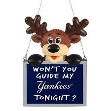new york yankees team logo reindeer with sign holiday tree