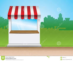 Striped Canopy by Store With Striped Awning Stock Photo Image 22884410