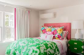 Pink And Green Bedroom - pink and green teen bedroom with green campaign nightstand