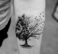half tree half birds awesome mens small forearm tatuaje