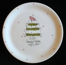 painted platters personalized personalized wedding plate wedding cake painted ceramic