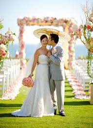 japanese wedding arches fink flower covered arch at asian wedding letterpress wedding