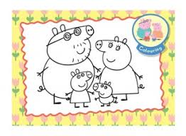 peppa pig family colouring picture ichild