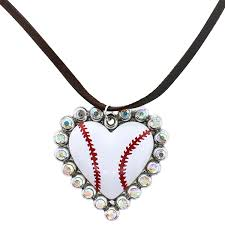heart rhinestone necklace images Necklace 200 18 treasure leather string baseball heart rhinestone png
