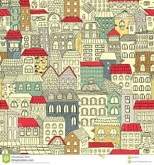 color sketch of the panorama of the city vintage cute houses