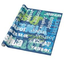 personalized gift wrapping paper birthday gifts ideas personalized name blue green subway