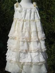 lace flower dress shabby chic frilly ruffles dress